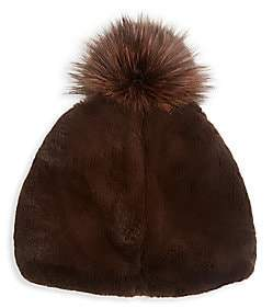 Julia & Stella Women's Rabbit Fur & Fox Fur Pom-Pom Beanie