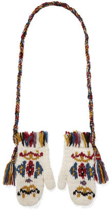 Etro Fringed Intarsia Wool Mittens - White