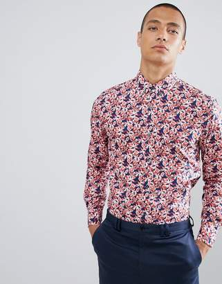 Clean Cut Copenhagen Clean Cut Dark Flower Slim Fit Long Sleeve Shirt