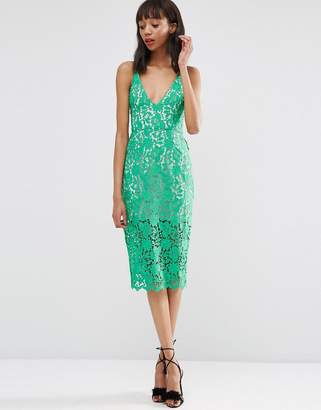 Asos Design Lace Hitchcock Midi Pencil Dress