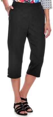 Alfred Dunner Women's Studio Pull-On Button Hem Capri Pants