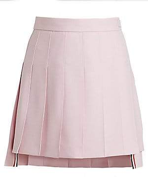 Thom Browne Women's Classic Pleated Wool Mohair Mini Skirt