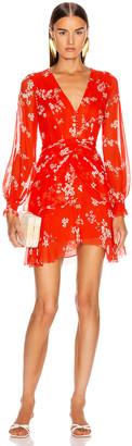 Nicholas Floral Pintuck Long Sleeve Mini Dress in Scarlet Multi   FWRD