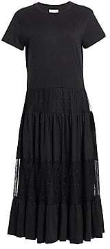 RED Valentino Women's Pleated Lace Tulle A-Line Midi Dress