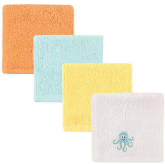 Baby Vision Luvable Friends Washcloths, 4-Pack, Yellow Octopus, One Size