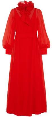 Lanvin Pussy-Bow Ruffle-Trimmed Silk-Chiffon Maxi Dress