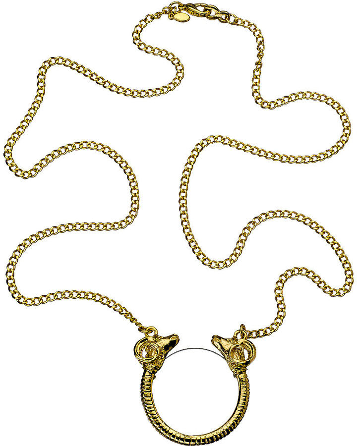 Kenneth Jay Lane Double Headed Ram Monocle Necklace