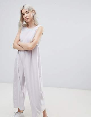 Asos DESIGN Minimal Jumpsuit with Gathered Waist and Wide Leg