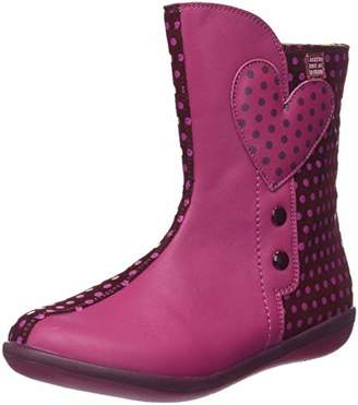 Agatha Ruiz De La Prada Girls' 181932 Slouch Boots, Pink y Fucsia/Cereza Puntos, 7UK Child