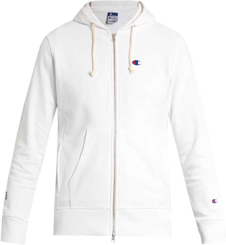 CHAMPION X BEAMS Hooded zip-through cotton-blend sweatshirt