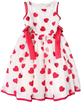MonnaLisa Heart Embroidered Glittered Tulle Dress