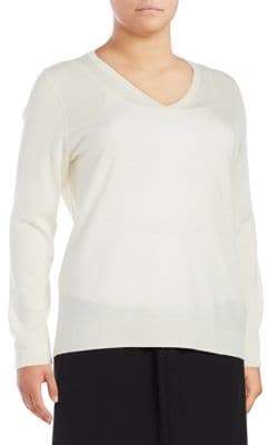 Lord & Taylor Plus Wool V-Neck Top