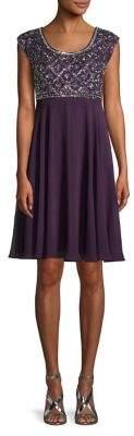 J Kara Embellished Cap-Sleeve A-Line Dress