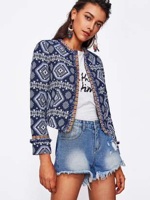 Shein Tribal Print Frayed Lace Trim Open Front Blazer