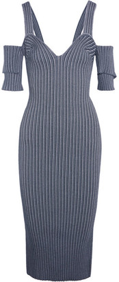 Victoria Beckham - Cold-shoulder Ribbed Stretch-knit Dress - Storm blue