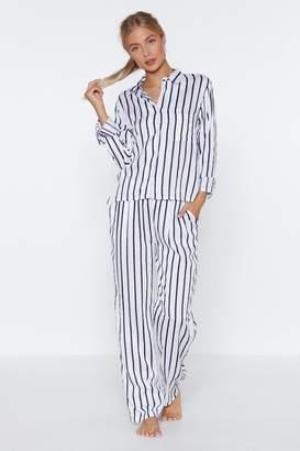 Nasty Gal Dream Come True Striped Shirt and Pants Pajama Set