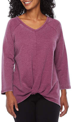 ST. JOHN'S BAY SJB ACTIVE Active-Womens V Neck Twist Front 3/4 Sleeve T-Shirt Petite