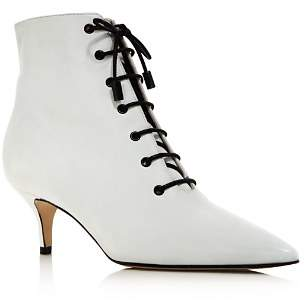 Paul Andrew Women's Noldeca Pointed Toe Lace-Up Leather Booties