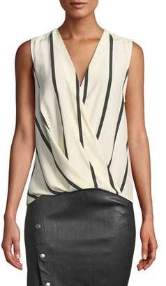 Rag & Bone Victor Sleeveless Striped Draped Silk Blouse