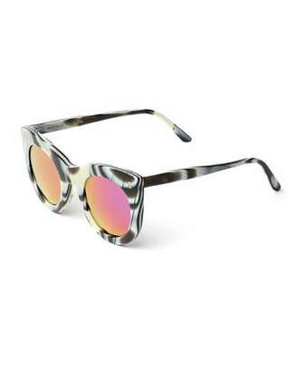 Illesteva Boca Iridescent Cat-Eye Sunglasses, Horn/Pink $220 thestylecure.com