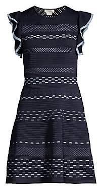 Shoshanna Women's Nunzia Striped Flutter Sleeve Dress