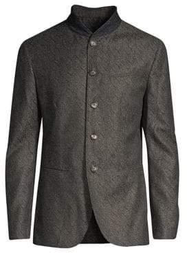 John Varvatos Men's Wool-Blend Shawl Collar Blazer Jacket - Concrete - Size 54 (44)