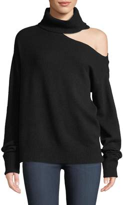 Paige Raundi Cold-Shoulder Turtleneck Wool-Blend Sweater