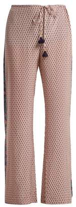 Figue Estella Floral Print Silk Trousers - Womens - Pink Multi