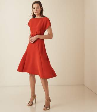 Reiss VICTORIA CAPPED SLEEVE MIDI DRESS Red