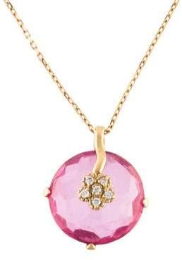 Suzanne Kalan 18K Topaz & Diamond Pendant Necklace