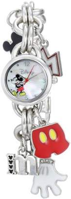 Disney Women's MK2066 Mickey Mouse Charm Watch with Mother of Pearl Dial