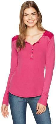 Lucky Brand Women's Embroidered Thermal Top