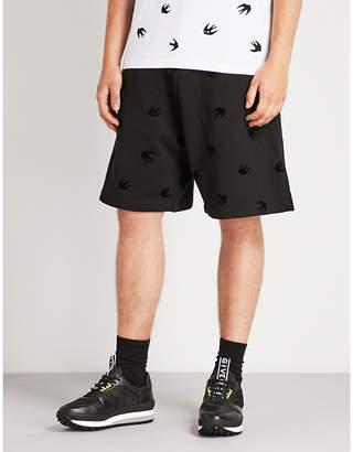 McQ Swallow-flocked wide-leg cotton-jersey shorts