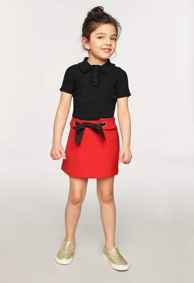 Milly Minis MillyMilly Doubleface Wool Grommet Tie Skirt