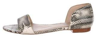 Tory Burch Embossed Leather Flat Sandals