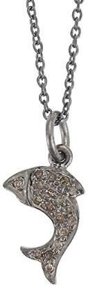 Ileana Makri EYE M by Little Dolphin Oxidised Silver Grey Diamonds Pendant