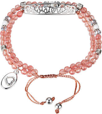 Footnotes Womens Pink Silver Over Brass Beaded Bracelet
