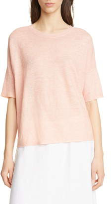 Eileen Fisher Elbow Sleeve Boxy Linen Sweater