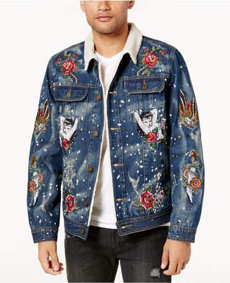 Reason Men's Embroidered Fleece-Lined Denim Jacket