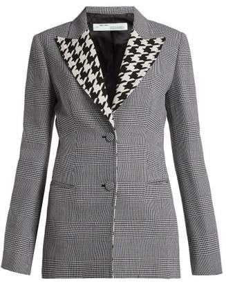 Off-White Off White Single Breasted Prince Of Wales Check Wool Blazer - Womens - Grey Print