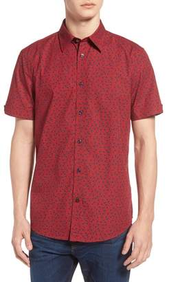 Ben Sherman Trim Fit Paisley Short Sleeve Sport Shirt
