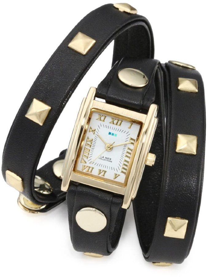 La Mer Collections Women's LMLW1010A Black Gold Pyramid Stud Wrap Watch
