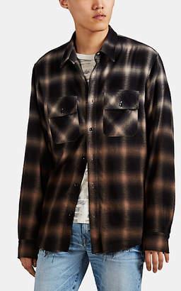 Amiri Men's Ombré Checked Cotton-Blend Flannel Shirt - Beige, Khaki