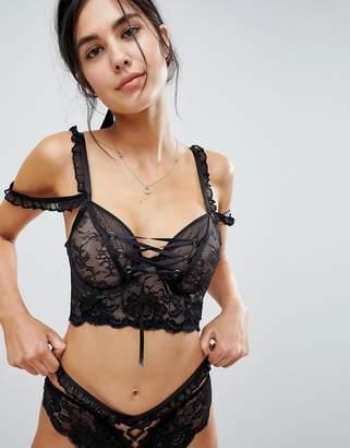 Asos DESIGN PREMIUM Danielle Lace Up Long Line Underwire Bra