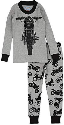 Sara's Prints KIDS' MOTORCYCLE-PRINT COTTON-BLEND PAJAMA SET