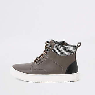 River Island Boys grey lace-up ankle boots