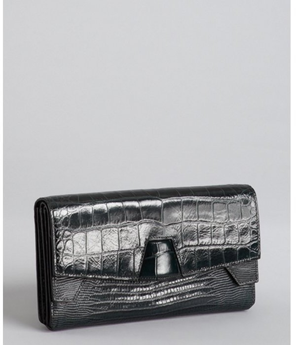 Alexander Wang serpentine green croc embossed leather 'Lydia' clutch