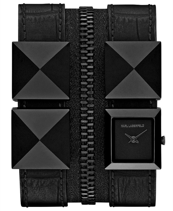 Karl Lagerfeld Women's Black Ion-Plated Stainless Steel Pyramid Stud and Black Leather Double Strap Watch 18mm KL2012