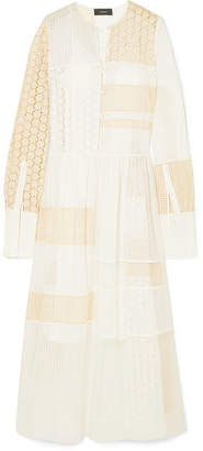 Joseph Odette Broderie Anglaise Cotton-blend And Organza Maxi Dress - White