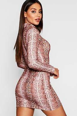 boohoo NEW Womens High Neck Snake Print Mini Dress in Polyester
